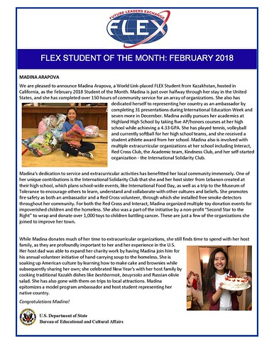 Congratulations to the February 2018 FLEX Student of the Month, Madina from Kazakhstan! | by FLEXprogram