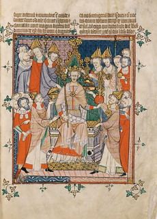 Coronation of Edward II from Apocalypse, Visio Sancti Pauli, MS 020, Corpus Christi College, Cambridge, 1300-25 | by levanrami