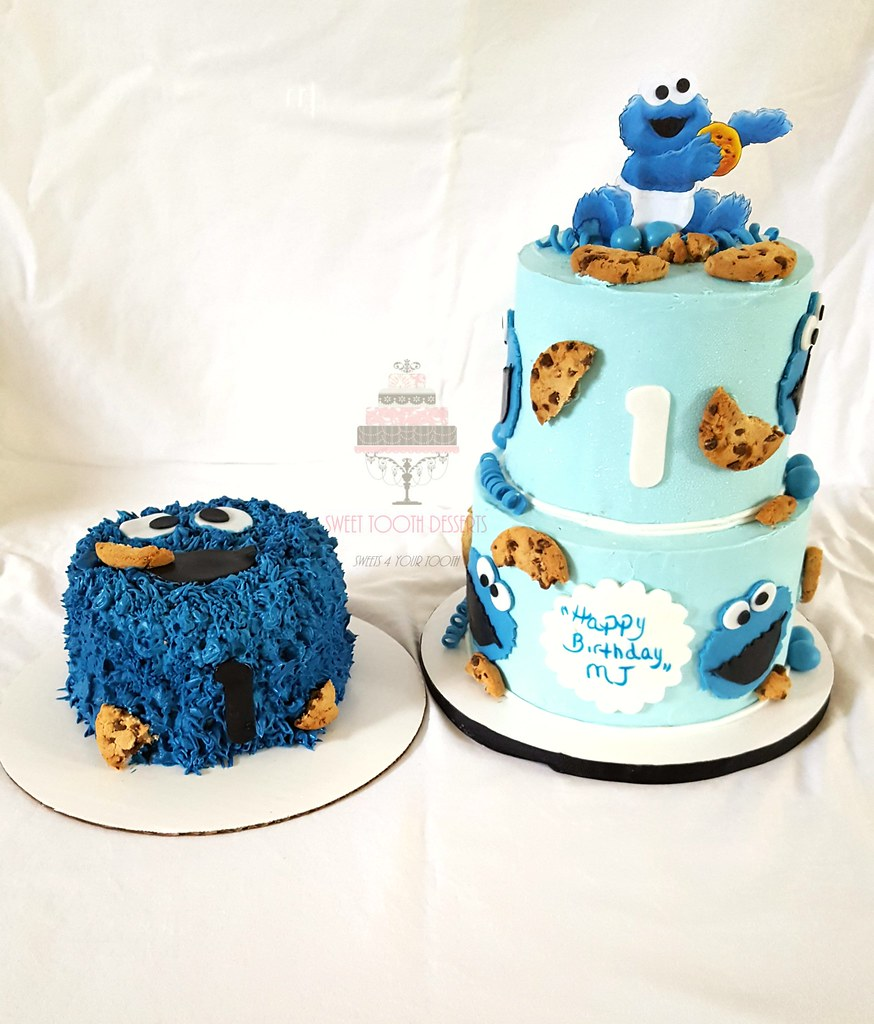 Cookie Monster 1st Birthday 2 Tier 6in And 8in Cookie Mo Flickr