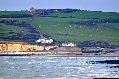 telephoto distance sea bay cottages buildings sheep water grass shore 1000v40f