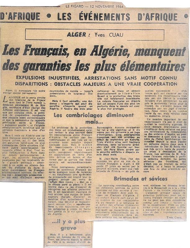 Enlèvement d'Européens en Algérie - le Figaro 1964