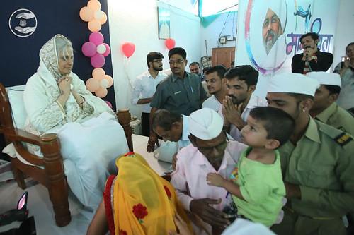 Devotees seeking blessings at Satsang Bhawan, Shahpur