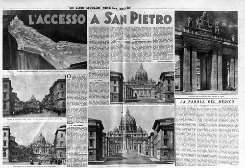 "VATICANO ARCHEOLOGICA & RESTAURO ARCHITETTURA: Terry Kirk, ""Framing St. Peter's: Urban Planning in Fascist Rome."" The Art Bulletin, Vol. 88, No. 4 (Dec., 2006), pp. 756-776; Bartolomeo Mazzotta (2014) & Foto: Il Messaggero (1936-37 & 1950)."