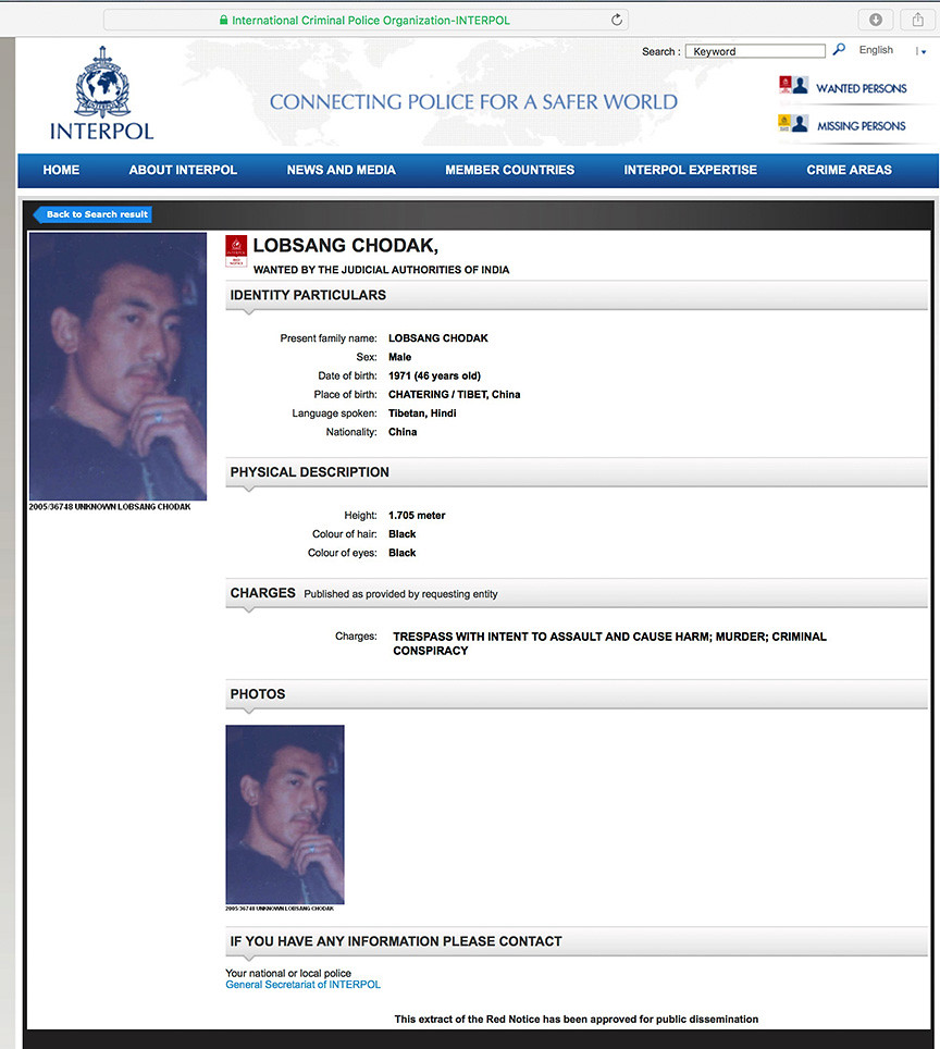 Interpol Red Warrant for Shugden cult murders