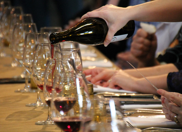 Pouring pinot noir at the 2018 Corner 103 Chocolate Lunch