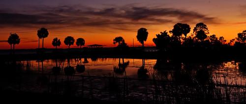 sunset red orange florida portstjo outdoors nature reflection reflectingpool pond water palmtrees