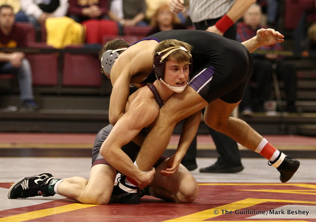 141: No. 10 Tommy Thorn (Minnesota) maj. dec. Alec McKenna (Northwestern) 13-3. 180128AMK0198