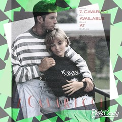 80s Cavaricci Clothing Advertisement with green and grey background