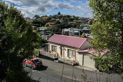 newzealand nikond750 southisland buildings otago portchalmers sky clouds building houses car road street hill trees