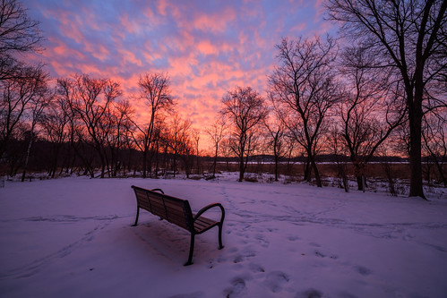 canon eos 5ds 5dsr landscape photography rokinon 14mm 24 glen lake minnetonka minnesota mn snow cold winter sunrise red pink purple bench frozen trees january tracks morning walk colorful