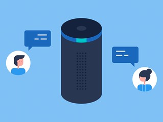 Alexa voice app with people chatting illustration | by BrotherUK
