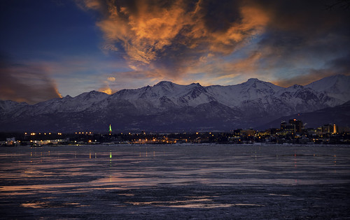 anchorage sunset clouds sky skyscape snow water alaska unitedstates us winterbeauty