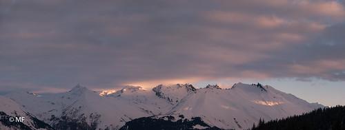 snow mountain peak winter snowy sky clouds cold trees outdoors neige nuage montagne mont blanc alpes alps savoie bourg saint maurice les arcs 1800 la rosière samsung nx1 panorama matin morning sunrise levé de soleil