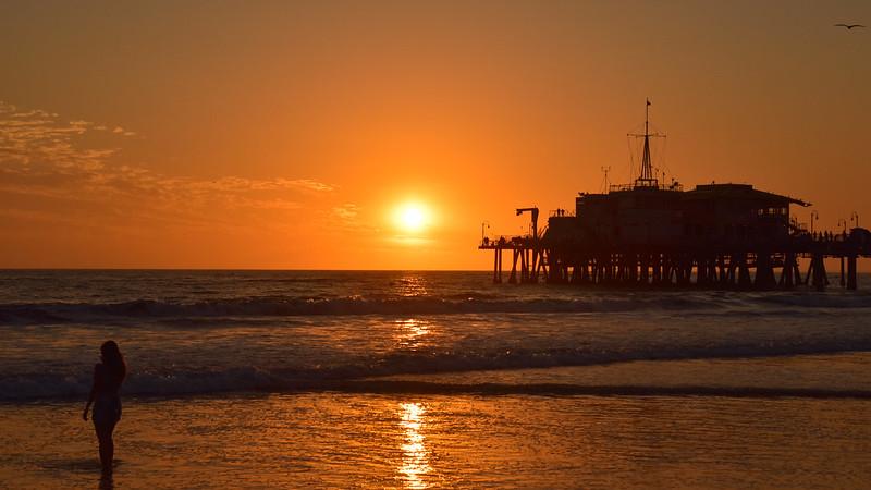 Facing the Ocean - Sunset on Santa Monica Pier