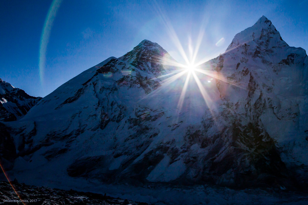 Sunrise between Everest and Nuptse