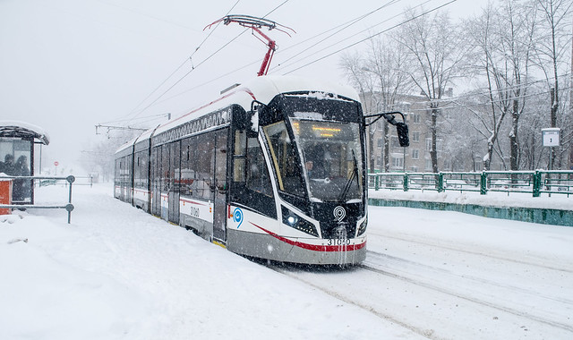 Moscow Trams during a snowfall (04.02.2018)