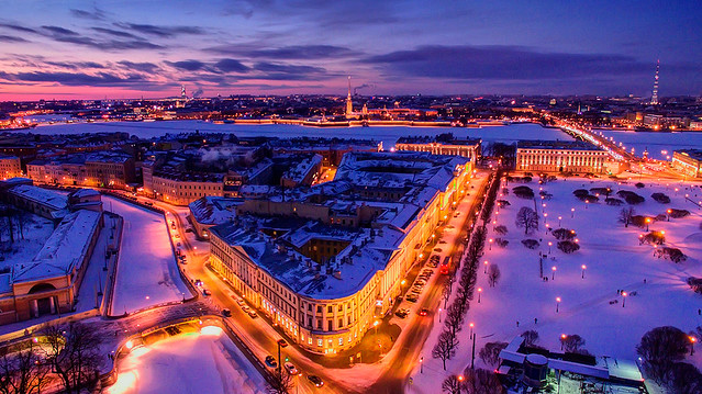 Magic winter view for St.Petersburg city