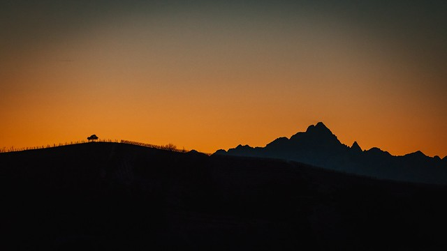 Sunset: hills and mountains