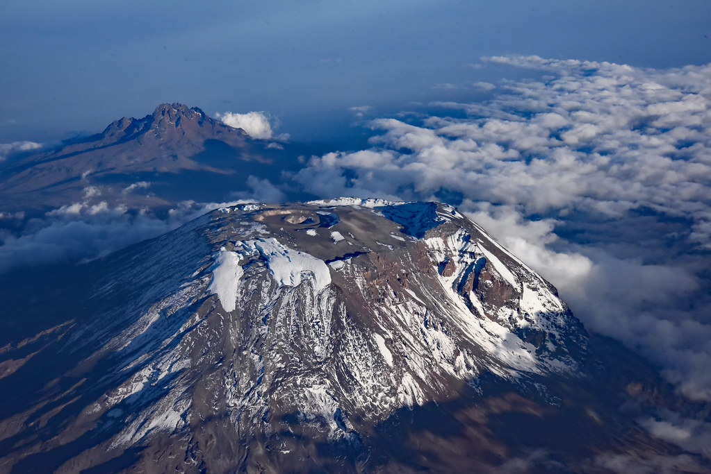 Aerial view of Mount Kilimanjaro in the evening   Seen ...
