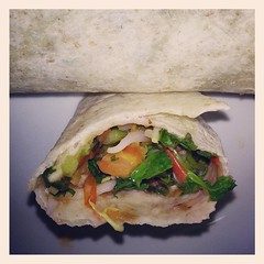 Whole Wheat Veggie Wrap!  Red Amaranth, Pea Shoots, Bean Sprouts, Cilantro, Tomatoes, Onion & Garlic...