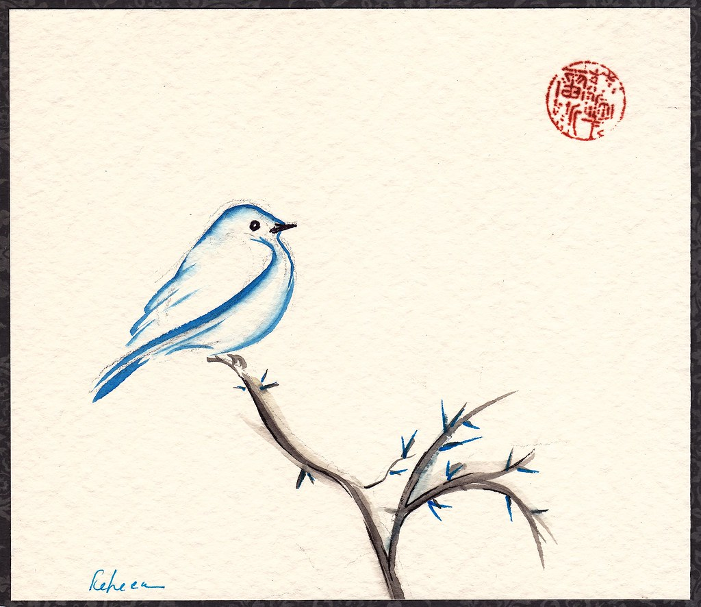 Morning Chirp - original watercolor painting of a little b