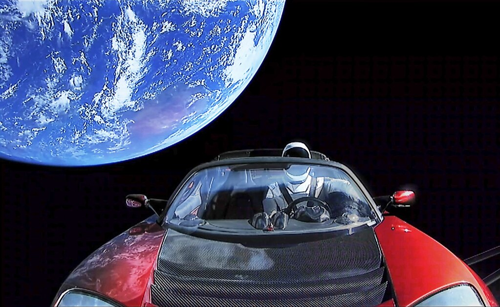 Starman on the way to Mars in a Tesla   Thank you for ...