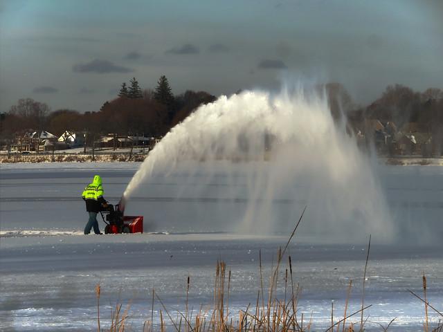 snowblower on Lake Quannapowitt; Wakefield, Massachusetts