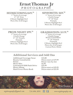 ETJ Photography Senior Portraits Pricing Guide 2018 Back