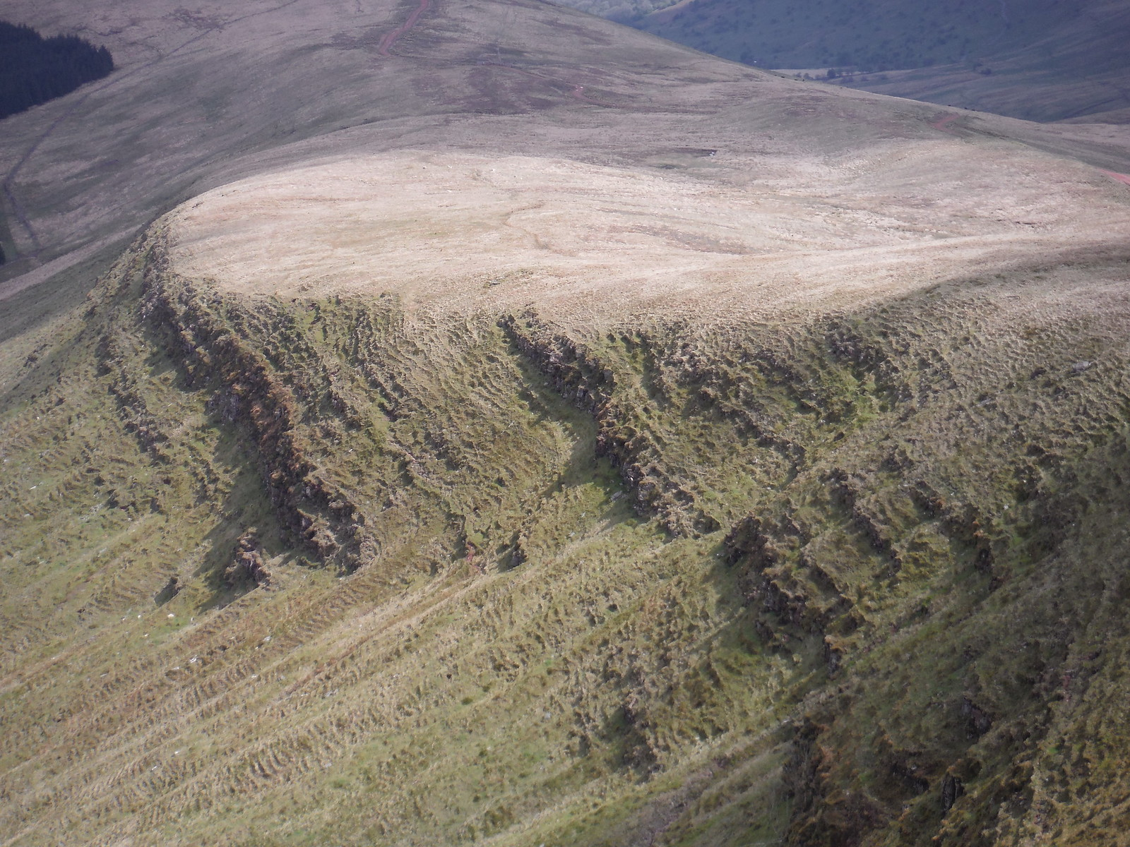 Rockslips in Scarp of Fan Gyhirych SWC Walk 307 - Fforest Fawr Traverse (Craig y Nos to Llwyn-y-celyn)