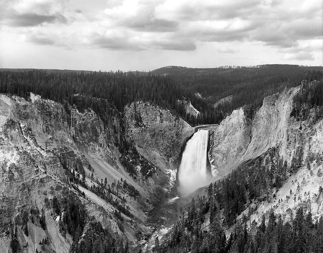 Lower Falls in Yellowstone National Park, Wyoming. Camera: Graflex Crown Graphic Pacemaker (1955). Film: New 55 Atomic-X. Process: Kodak D-76 (1+1) 11:00 @ 20c.⠀