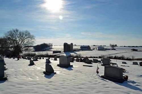winter landscape cemetery farm niantic snow