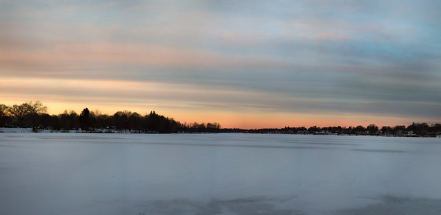 sunset over frozen Lake Quannapowitt; Wakefield, Massachusetts (2017)