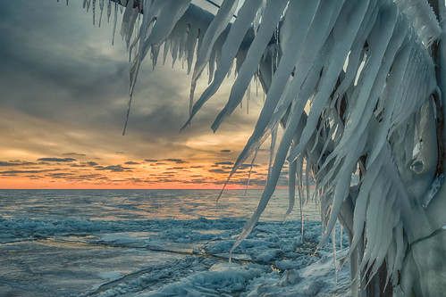 hdr lakemichigan michigan nikon nikond5300 stjoseph clouds cold evening frozen geotagged ice icicles lake pier sky sunset water winter saintjoseph unitedstates