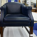Navy chair leather in red of reupholstering E35