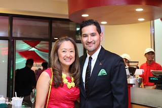 U.S. Embassy's Deputy Chief of Mission July Chung and Cambodian actor Cham Nou Jimmy at the launch of Krispy Creme in Phnom Penh