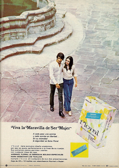 1970 Ad, Floral Sanitary Pads, Girl & Guy,