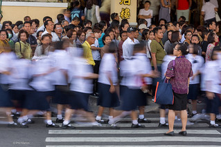 Throng of school girls pass by a waiting queue of greiving mourners at The funeral cremation ceremony for Thailand's late King Bhumibol Adulyadej - Bangkok | by Phil Marion (176 million views - THANKS)