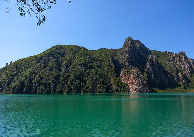 Green water of Sinpyong lake, Pyongan Province, Sinpyong, North Korea