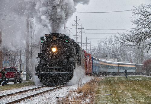 pere marquette 1225 owosso steam institute train trains michigan snow winter polar express locomotive rail road railroad rails passenger north pole