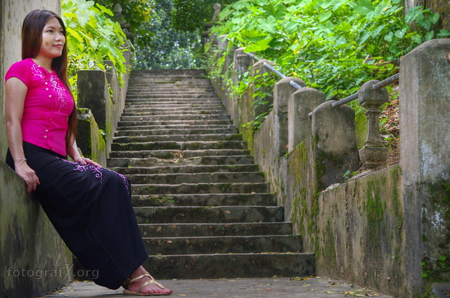 ancient stairs & a young lady