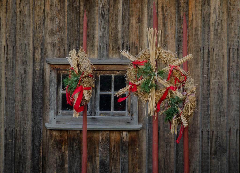Swedish Christmas Decorations.Traditional Swedish Christmas Decorations On Display At Th