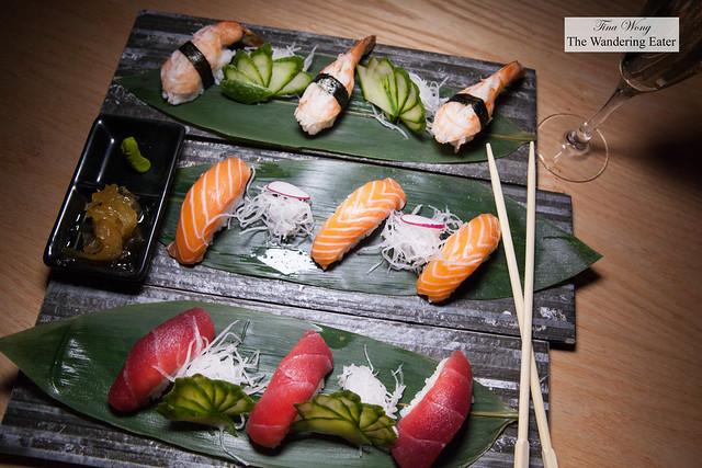 Tuna, salmon and shrimp nigiri