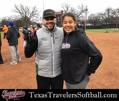 Madison McClarity @DeeMcClarity04 with Marshall University's Assistant Softball Coach Mike Viramontez at the Oklahoma State University Camp.