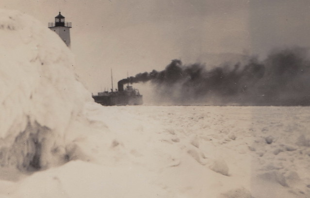 SHIP Frankfort Elberta MI RPPC AARR STEAMER CAR FERRY INBOUND BUT ICED OUT OF BETSIE BAY INSIDE HARBOR CHANNEL Postcard Size Real Photo Postcard Photographer UNK1