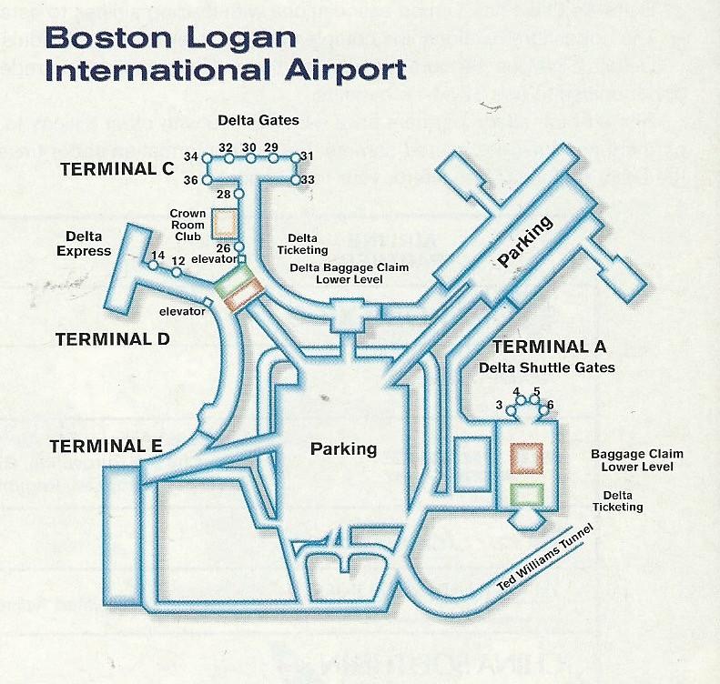 Delta BOS diagram, 1999 | Delta Air Lines diagram of Boston ...