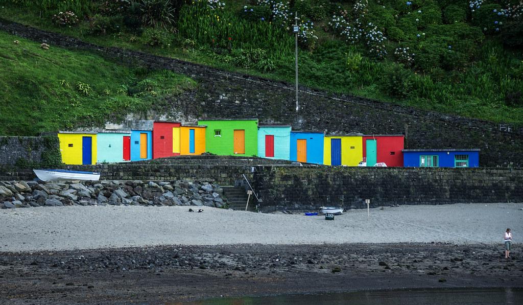 boat huts at Porto Formoso, Sao Miguel, Azores