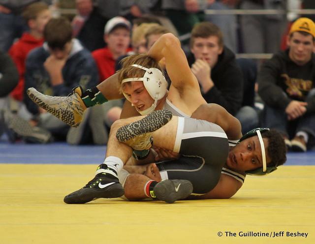 126 Semifinal - Jackson Stauffacher (Scott West) 11-2 won by decision over Michael Suda (Pipestone) 11-2 (Dec 5-0) - 171216BJF0150