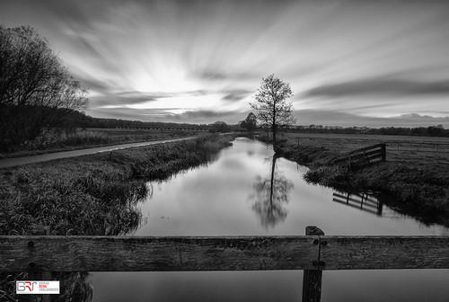 reinasmallenbroek blackandwhite zwartwit landschap landscpae nienoordleek polder water tree boom bridge brug le leebigstopper sky wolken lucht clouds