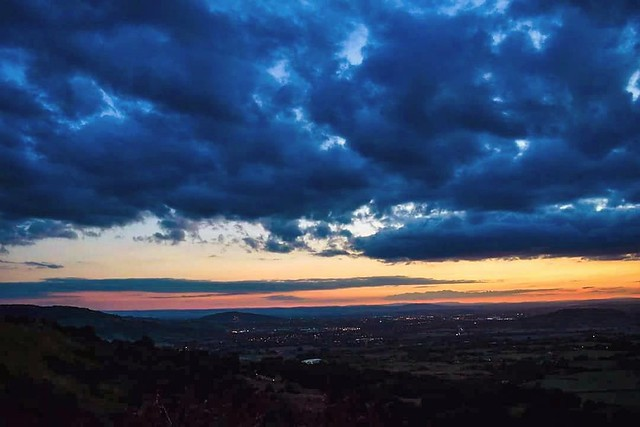 Sunset over Gloucestershire from Crickley Hill Park.