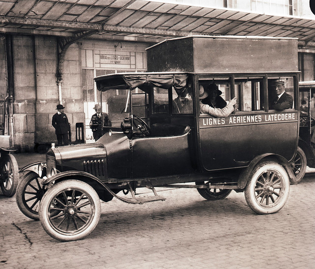 Burton Holmes and His Wife in Transit to Airport, Toulouse, France, 1923